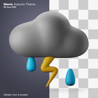 Nuvem de chuva tempestuosa com ilustração 3d de trovão, renderização de ícone 3d editável isolado