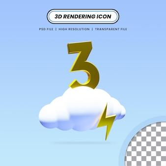 Nuvem renderizada 3d com design de ícone de trovão e número 3