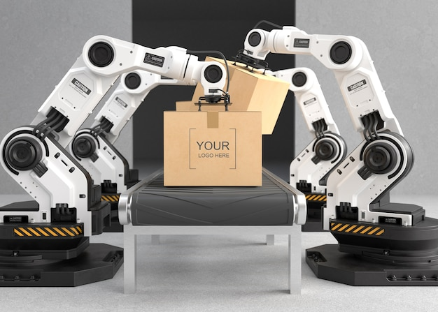 O braço do robô está funcionando na fábrica