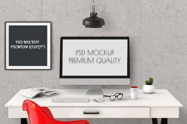O cartaz da maquete com computador de secretária, 3d rende.