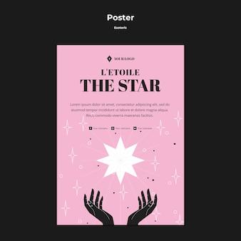 O cartaz esotérico do conceito de estrela brilhante