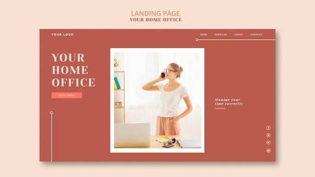 O design da página de destino do seu escritório em casa