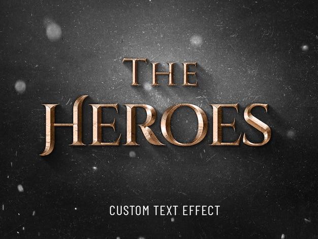 O efeito de texto 3d cinematográfico dos heróis