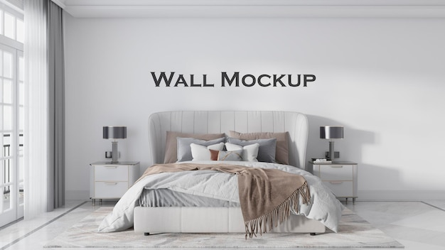 O espaço da recepção tem uma maquete de parede simples