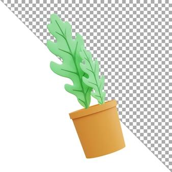 O ícone da ilustração da renderização 3d deixa o verde isométrico
