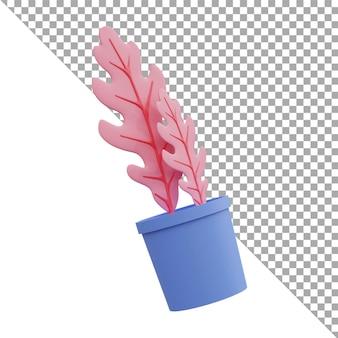 O ícone da ilustração da renderização 3d deixa rosa isométrica