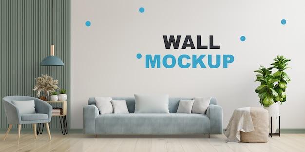 O interior moderno e bem iluminado da sala de estar tem sofá, poltrona e luminária com parede branca. renderização 3d