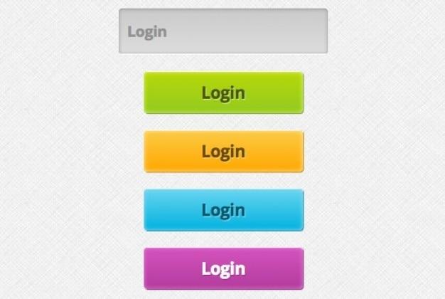 O login botões coloridos psd material