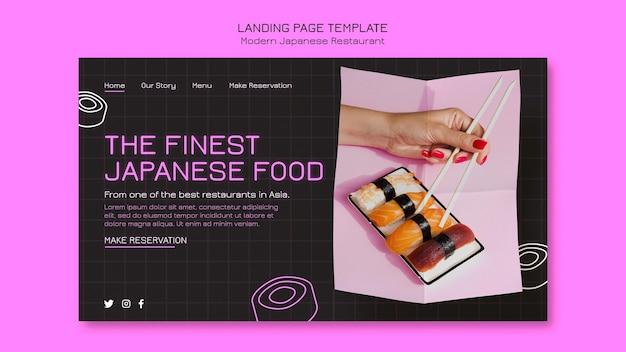 O melhor modelo de página de destino de comida japonesa