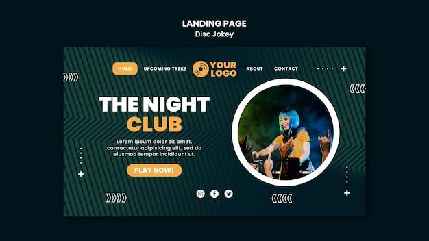 O modelo da página de destino do clube noturno