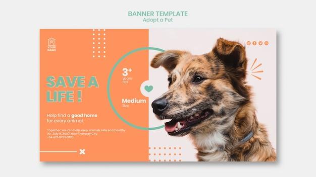 O modelo de banner adota o tema animal de estimação