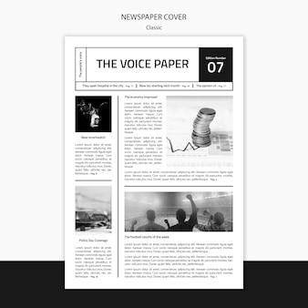 O modelo de capa de jornal de voz