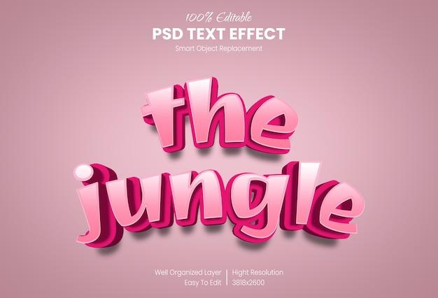 O modelo de efeito de estilo de texto 3d selva
