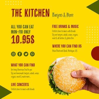O modelo de hambúrguer saboroso de menu de cozinha