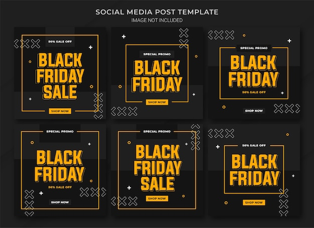 O modelo de pacote de postagens do instagram da campanha black friday