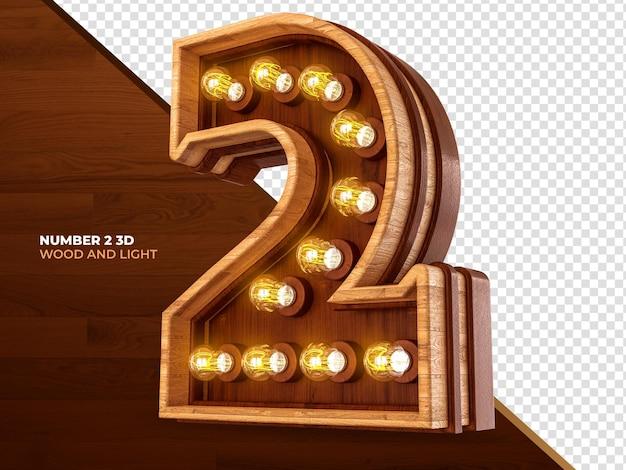 O número 2 é renderizado em 3d em madeira com luzes realistas