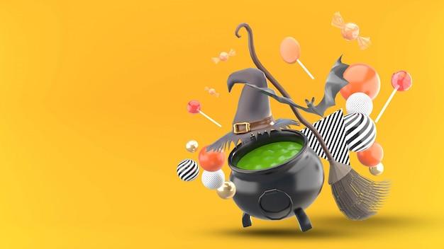 O pote da bruxa é cercado por chapéus de bruxa, vassouras, morcegos, bolas e doces em uma laranja
