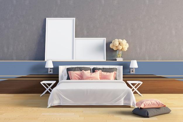 O quarto tem almofadas rosa