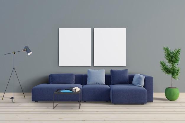 O quarto tem um sofá azul e molduras de maquete