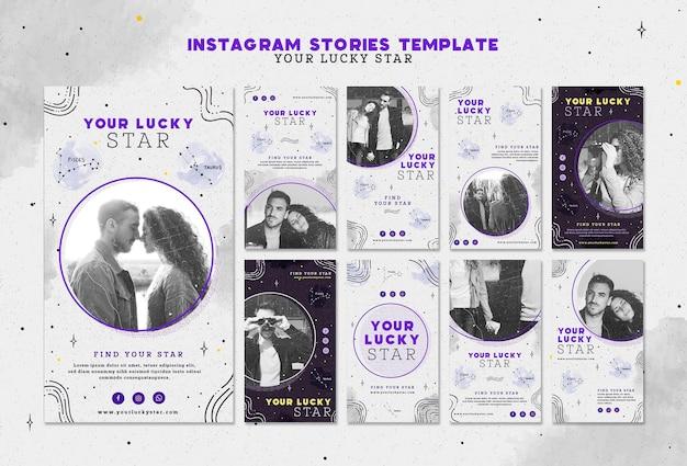 O seu modelo de histórias do instagram de estrela da sorte