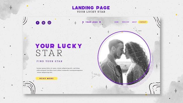 O seu modelo de página de destino com estrela da sorte