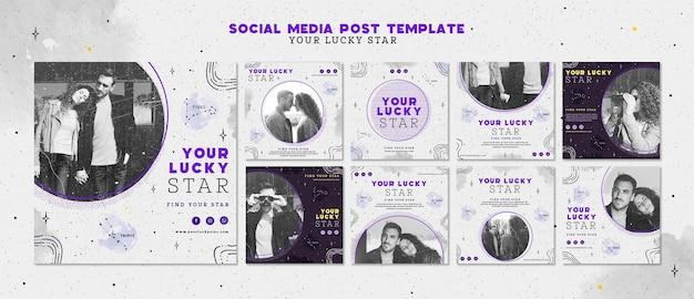 O seu modelo de publicação de mídia social estrela da sorte Psd grátis
