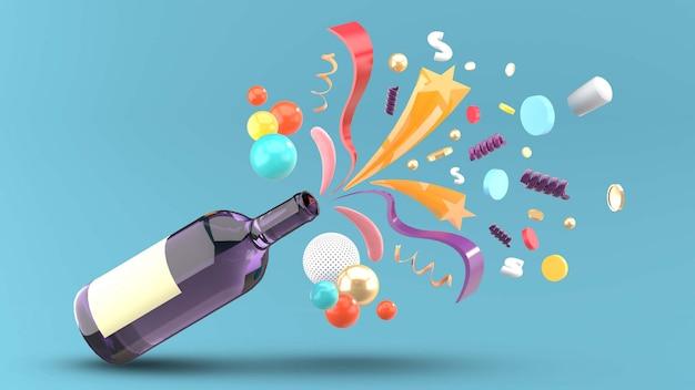 O vinho acabou por ser estrelas e fitas em um azul