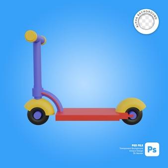 Objeto 3d de estilo de desenho animado infantil de scooter