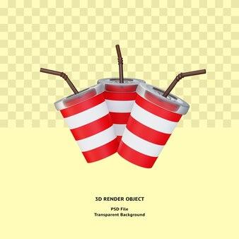 Objeto de ilustração de bebida 3d renderizado psd premium
