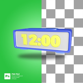 Objeto de renderização 3d de relógio digital azul com números 12
