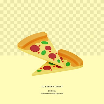 Objeto ilustrado de pizza 3d renderizado em psd premium