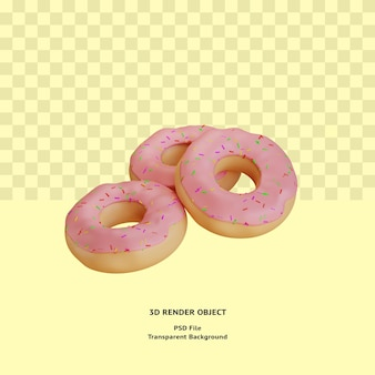 Objeto ilustrado de rosquinhas 3d renderizado psd premium