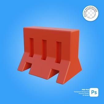 Objeto simples de barreira de tráfego 3d