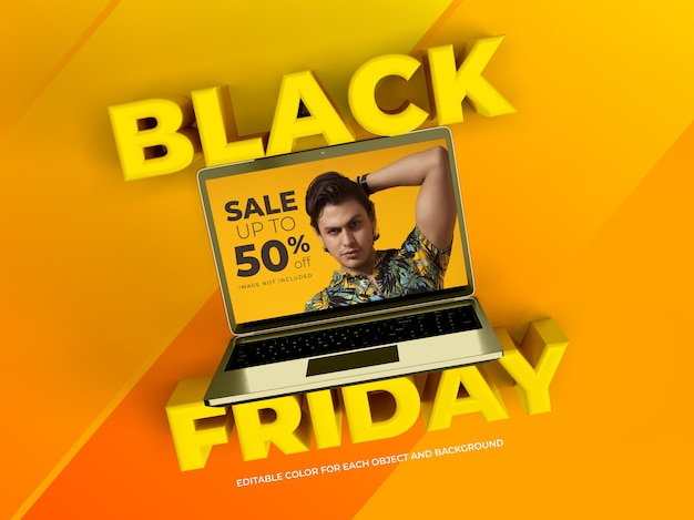 Objetos 3d e laptop para black friday