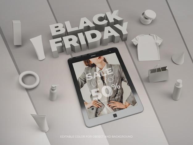Objetos 3d e tablet para black friday mockup