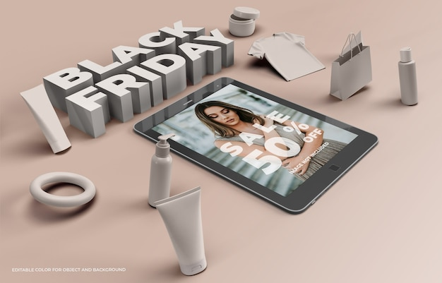 Objetos 3d e tablet para black friday