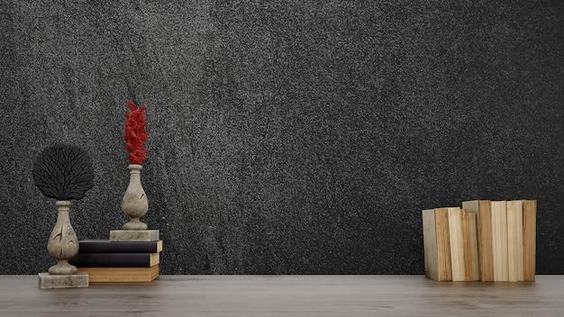 Objetos decorativos, livros antigos e vasos sobre parede preta, estilo japonês.