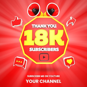 Obrigado 18 mil assinantes do youtube comemoração 3d render isolado