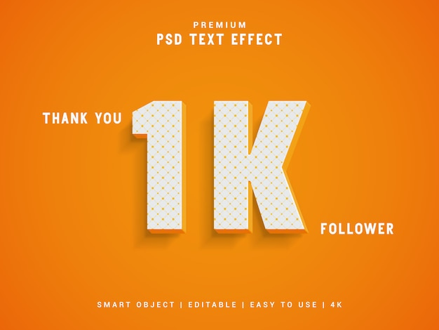 Obrigado 1k seguidor modelo de estilo de texto
