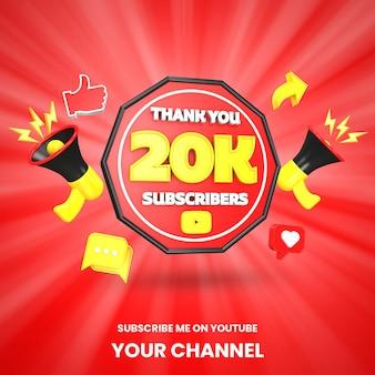 Obrigado, 20 mil assinantes do youtube, celebração 3d render isolado
