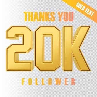 Obrigado 20k seguidor renderização de texto 3d