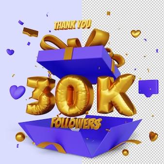 Obrigado 30 mil seguidores 3d render com conceito de parabéns caixa de presente aberta