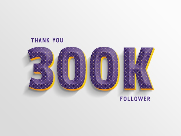 Obrigado 300k seguidores, modelo de estilo de texto