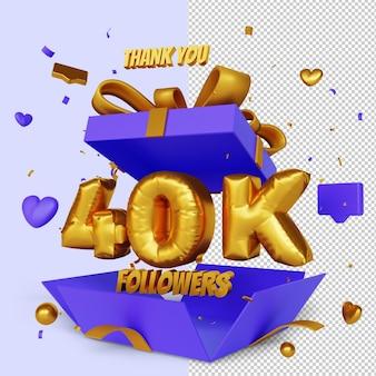 Obrigado 40k seguidores 3d render com conceito de parabéns caixa de presente aberta