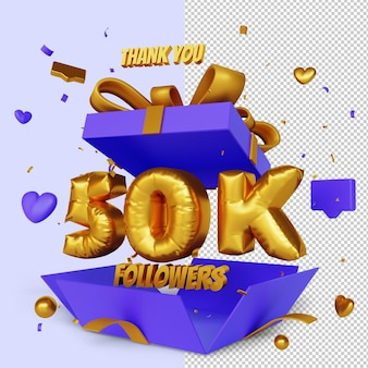 Obrigado, 50 mil seguidores 3d render com conceito de parabéns de caixa de presente aberta