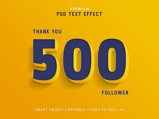 Obrigado 500 seguidor gerador de efeito de texto.