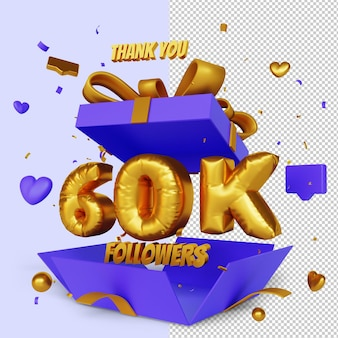 Obrigado 60 mil seguidores 3d render com conceito de parabéns caixa de presente aberta