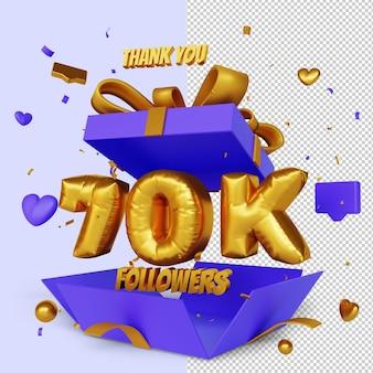 Obrigado 70 mil seguidores 3d render com conceito de parabéns caixa de presente aberta