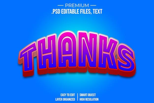 Obrigado efeito de estilo de texto 3d