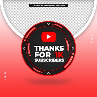 Obrigado por 1k assinantes 3d front render icon para youtube